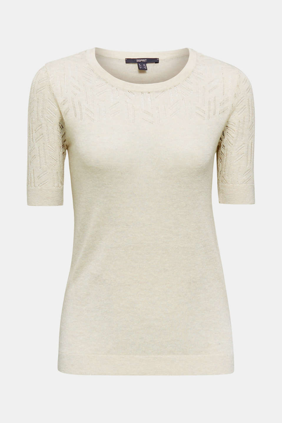 Short-sleeved openwork jumper with linen, ICE 5, detail image number 6