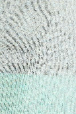Short-sleeved openwork jumper with linen, LIGHT TURQUOISE 5, detail