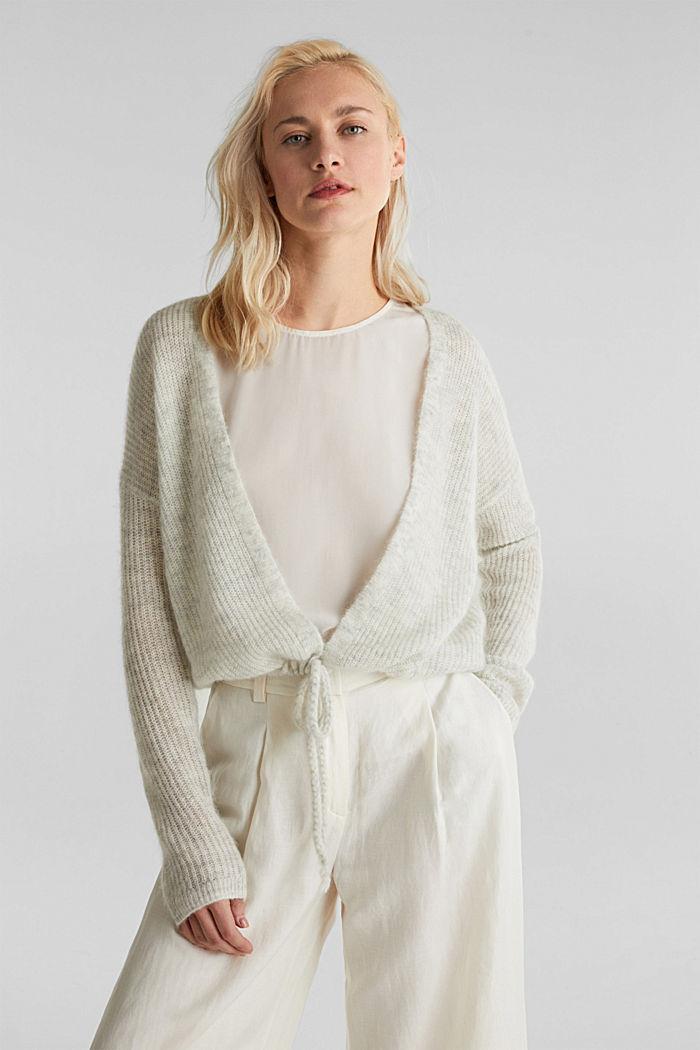 With wool/alpaca: premium cardigan, PASTEL GREY, detail image number 0