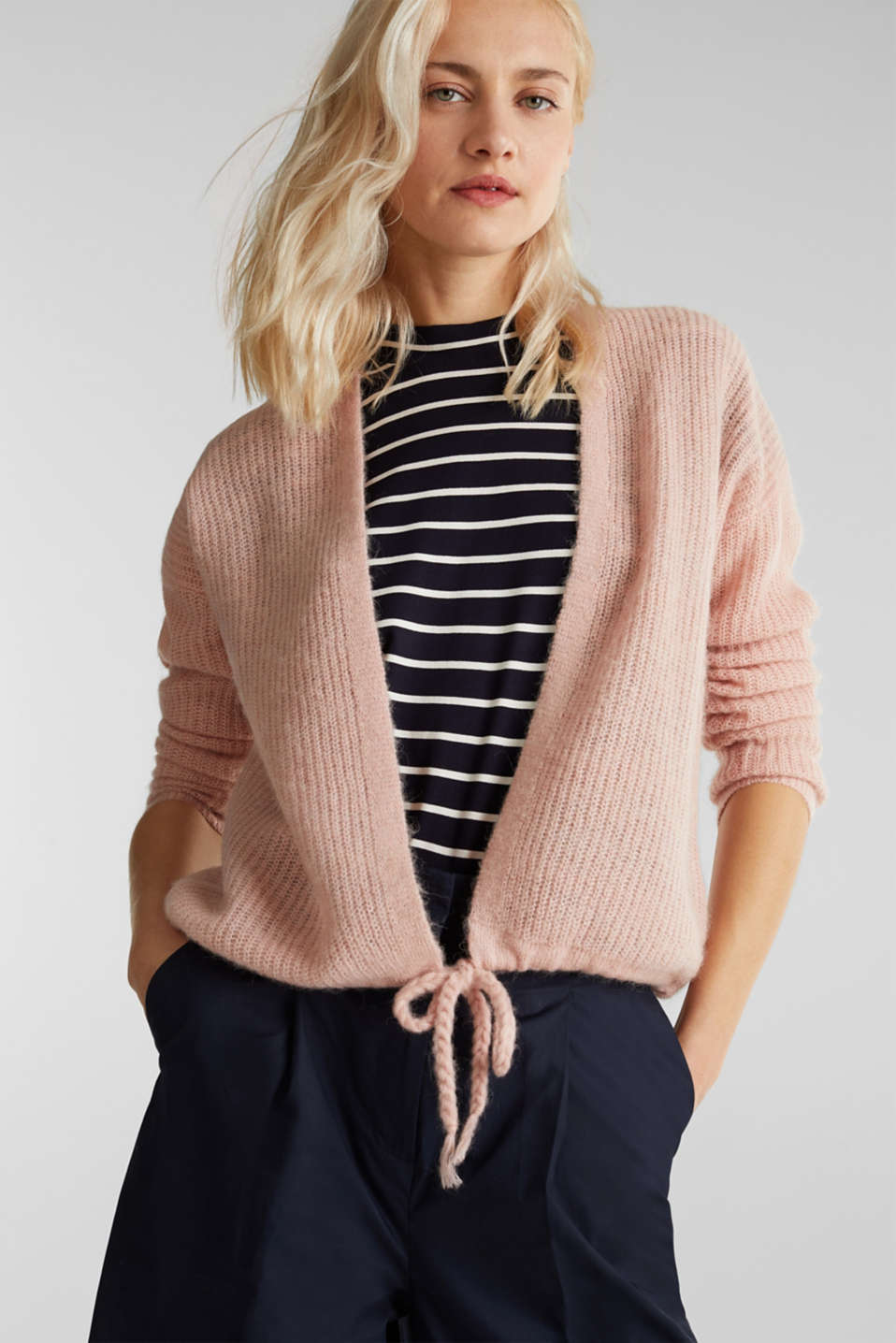 With wool/alpaca: premium cardigan, NUDE, detail image number 0