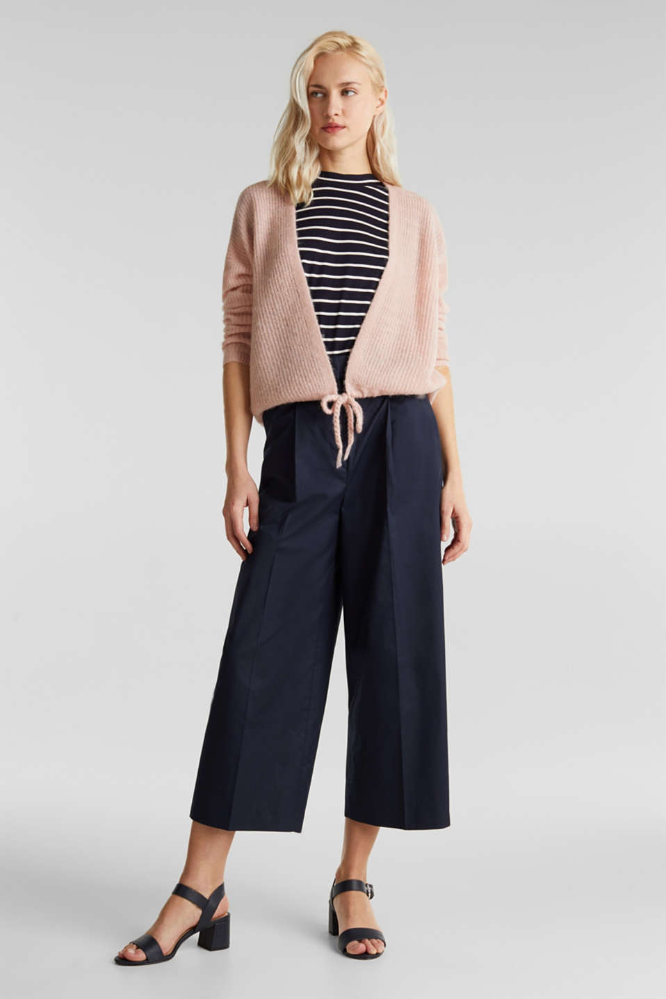 With wool/alpaca: premium cardigan, NUDE, detail image number 1