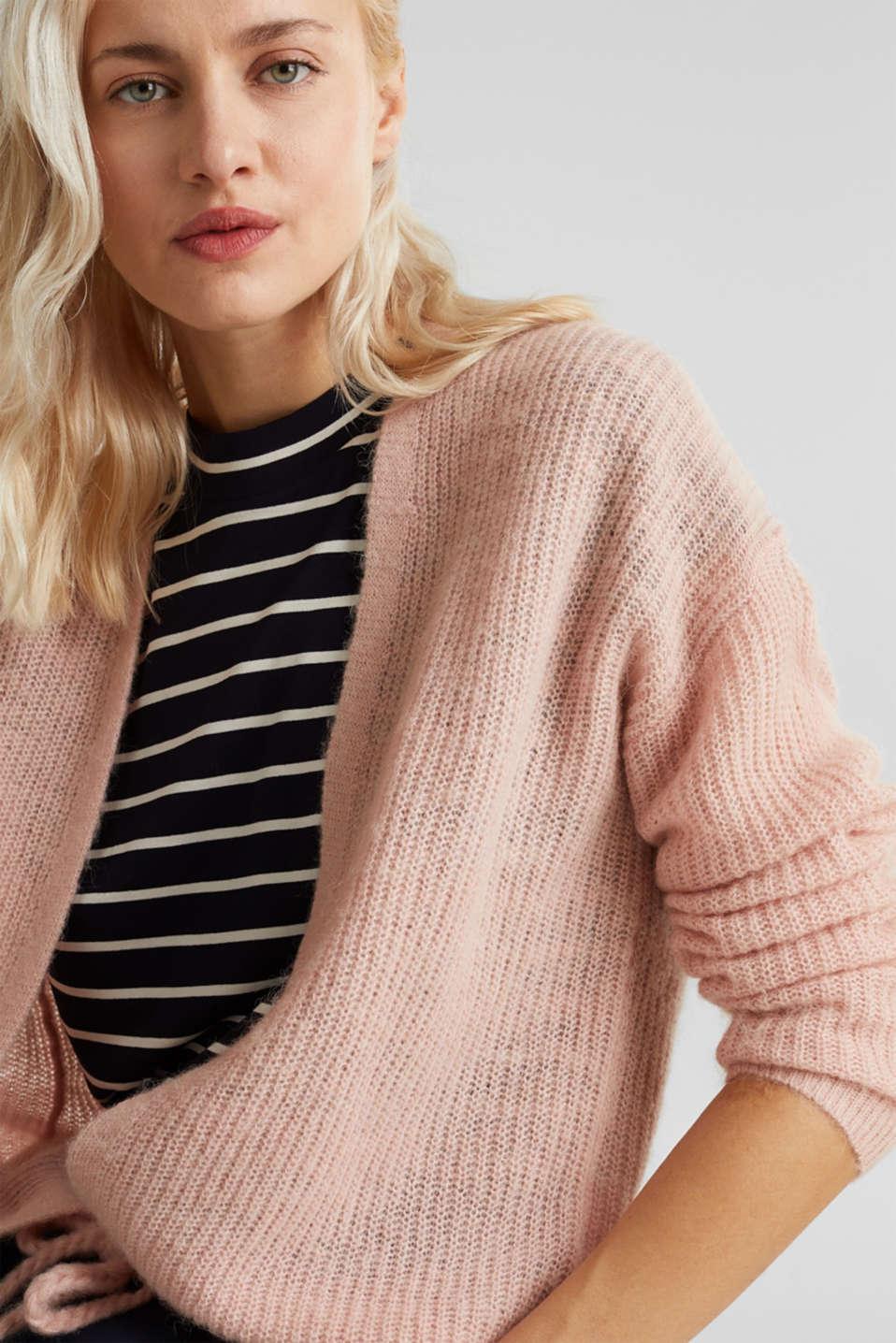 With wool/alpaca: premium cardigan, NUDE, detail image number 4