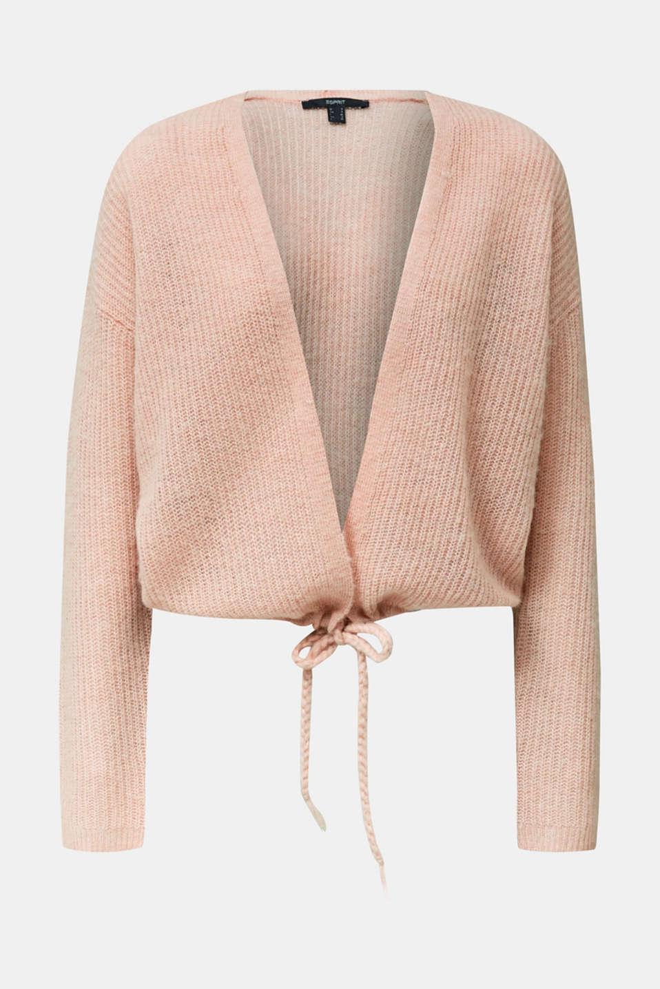 With wool/alpaca: premium cardigan, NUDE, detail image number 7