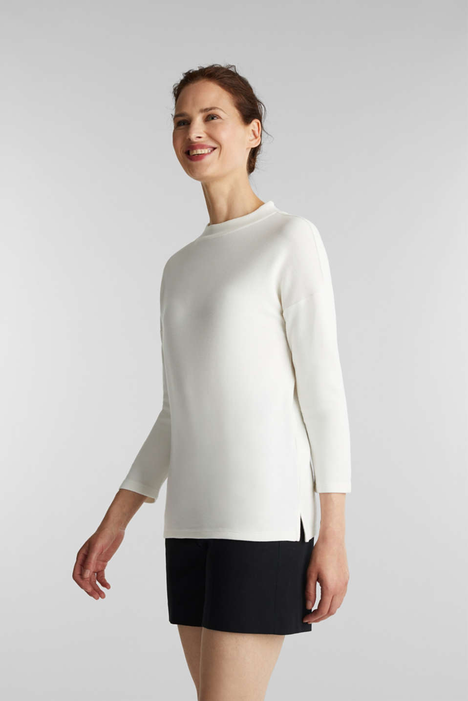 Esprit - Ribbed sweatshirt with a stand-up collar