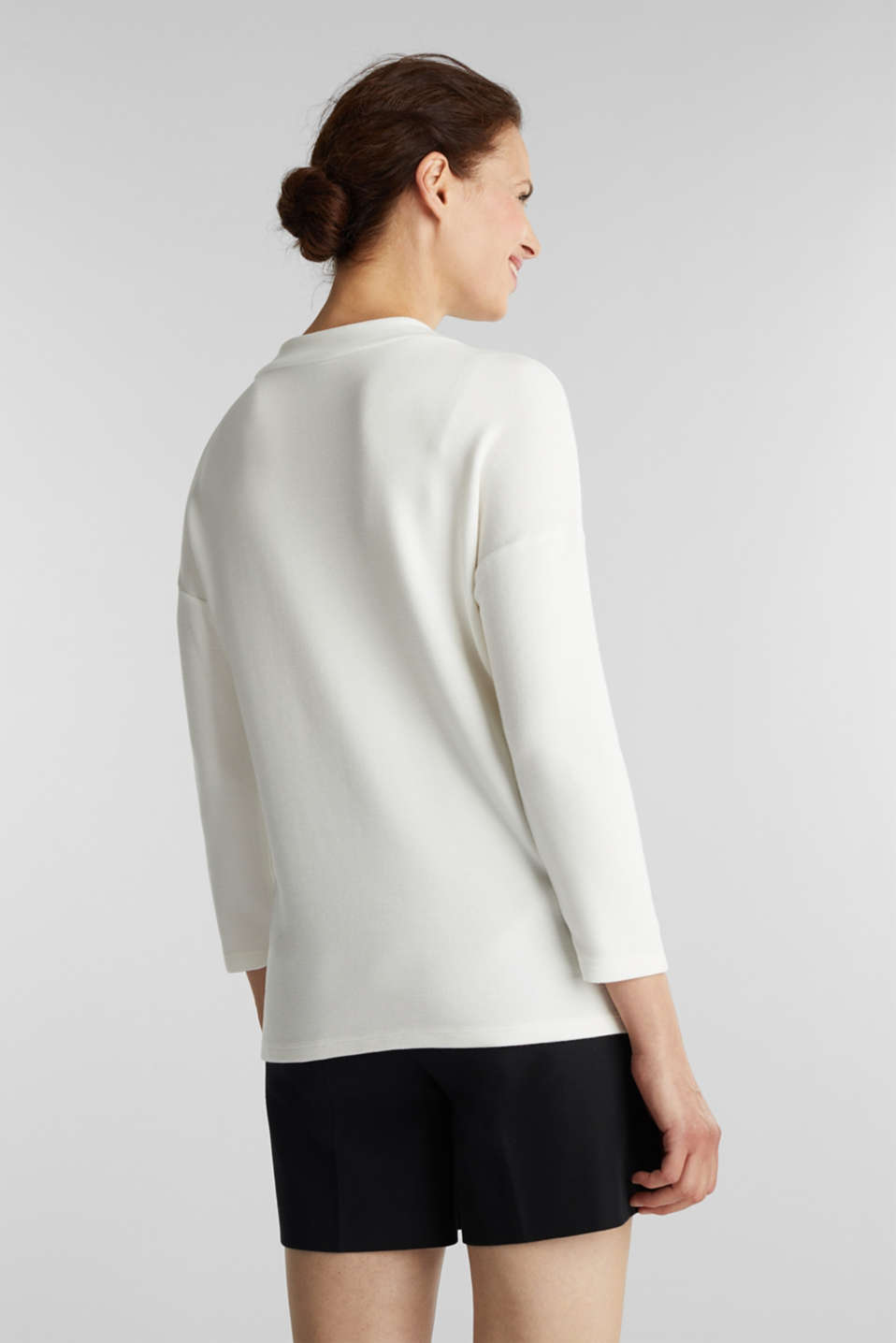 Ribbed sweatshirt with a stand-up collar, WHITE, detail image number 2