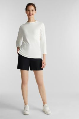 Ribbed sweatshirt with a stand-up collar, WHITE, detail