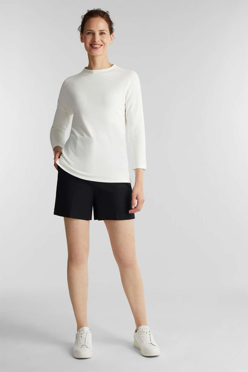 Ribbed sweatshirt with a stand-up collar, WHITE, detail image number 1