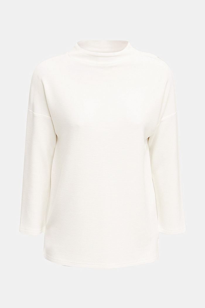 Ribbed sweatshirt with a stand-up collar, WHITE, overview