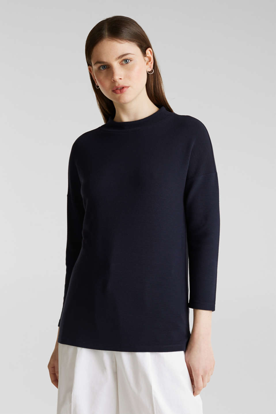 Ribbed sweatshirt with a stand-up collar, NAVY, detail image number 0