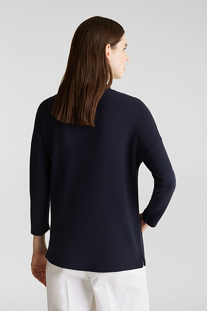 Ribbed sweatshirt with a stand-up collar, NAVY, detail image number 3