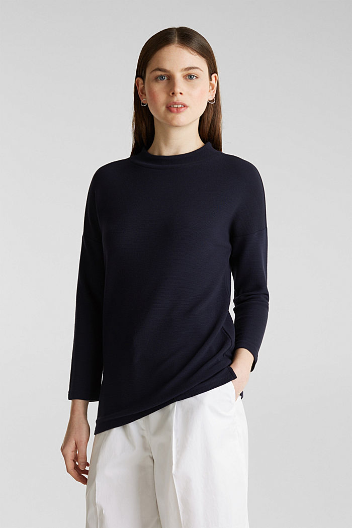 Ribbed sweatshirt with a stand-up collar, NAVY, overview