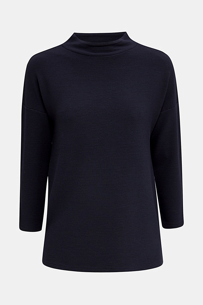 Ribbed sweatshirt with a stand-up collar, NAVY, detail image number 6