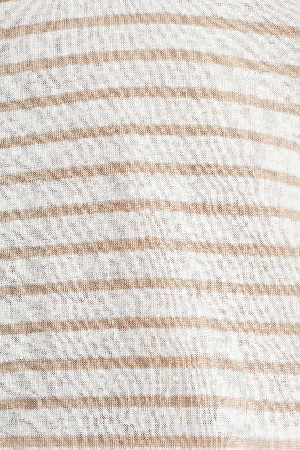 V-neck linen top, OFF WHITE, detail image number 4