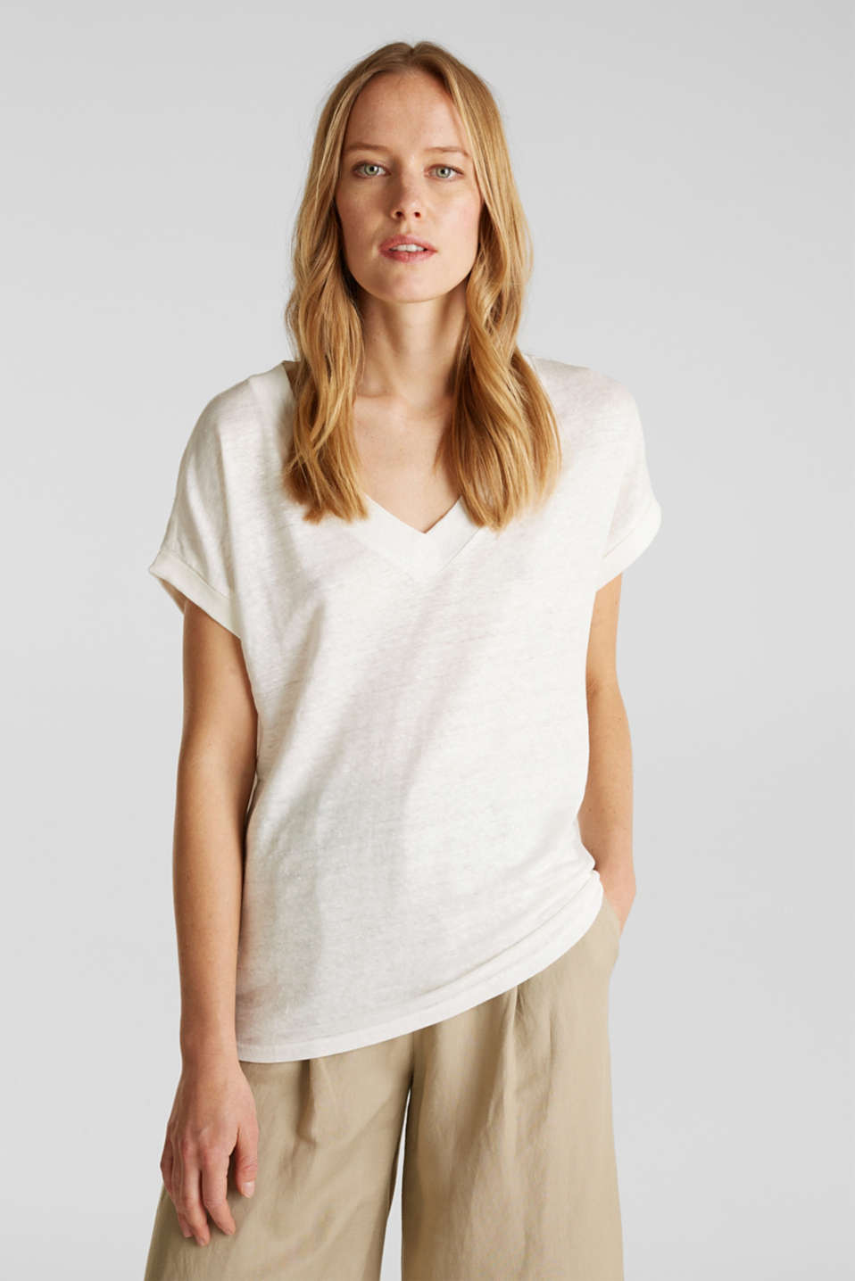 Esprit - V-neck linen top