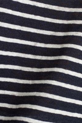 V-neck linen top, NAVY, detail