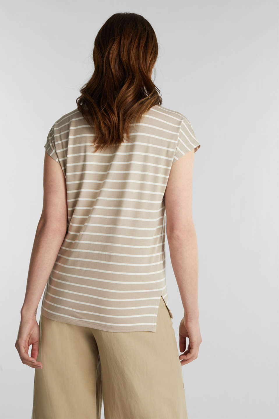 Stretch top with stripes, BEIGE, detail image number 2