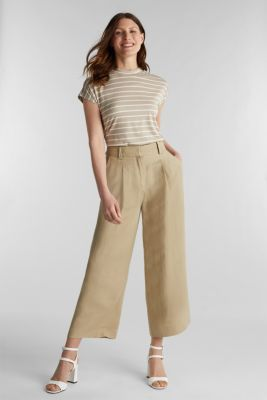 Stretch top with stripes, BEIGE, detail