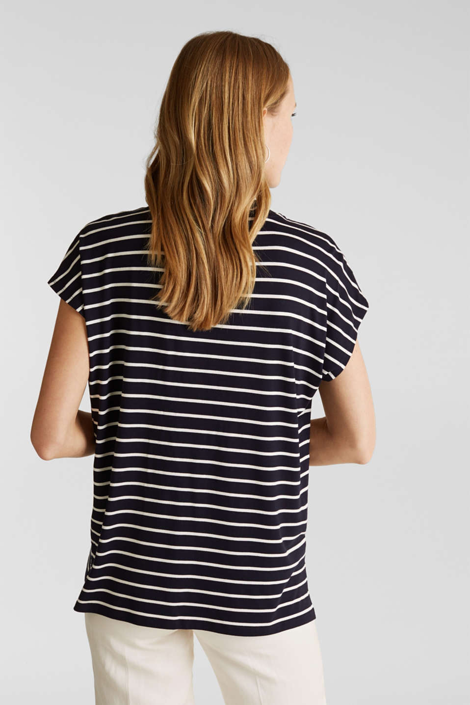 Stretch top with stripes, NAVY, detail image number 3