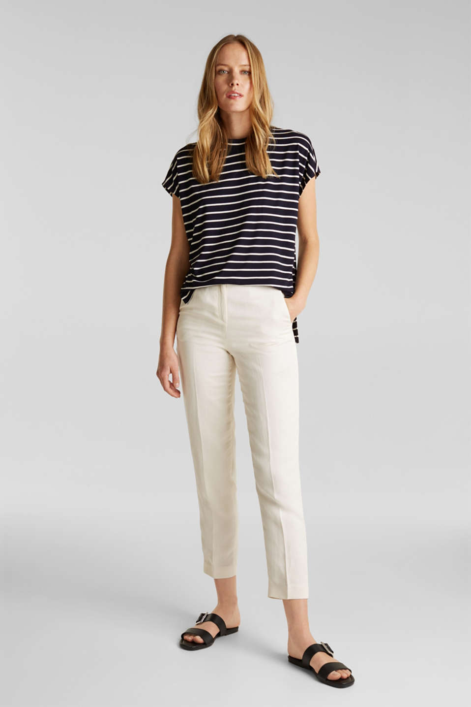 Stretch top with stripes, NAVY, detail image number 6