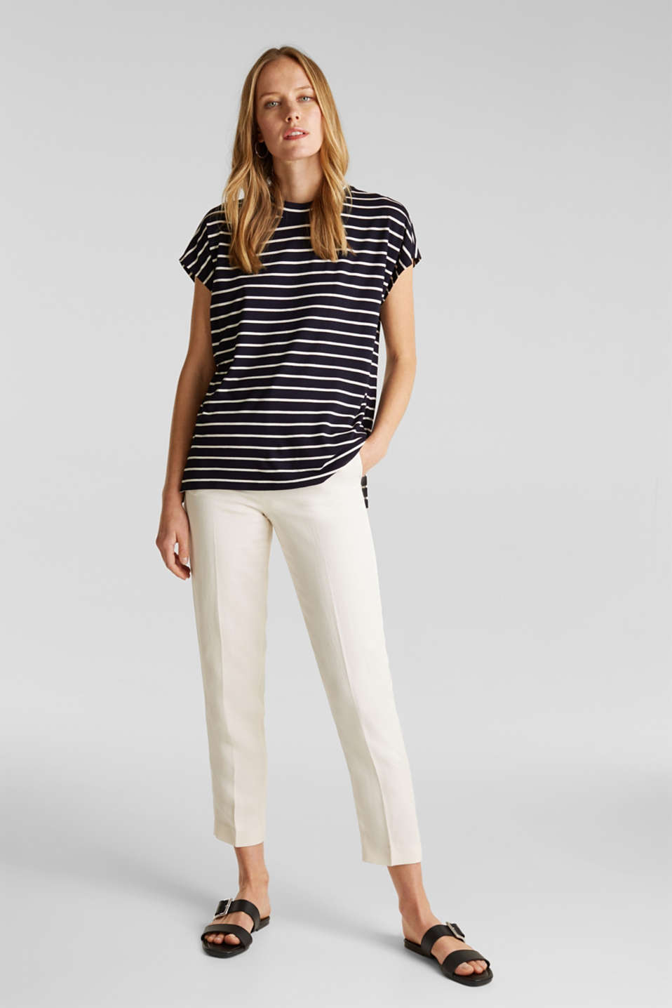 Stretch top with stripes, NAVY, detail image number 1
