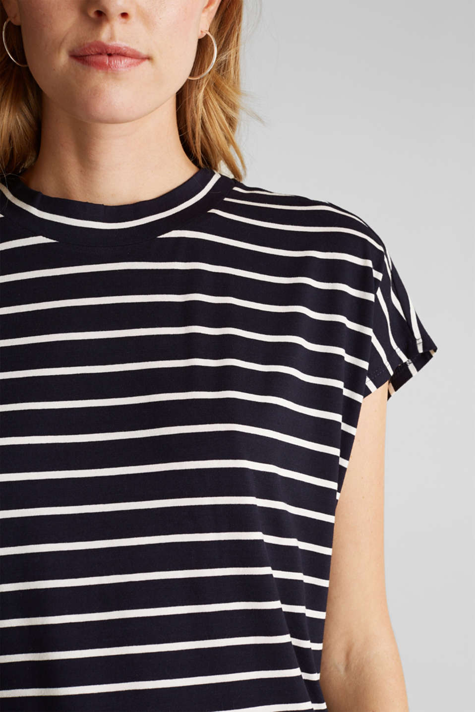 Stretch top with stripes, NAVY, detail image number 2