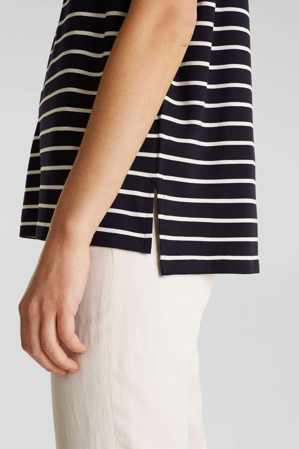 Stretch top with stripes, NAVY, detail image number 5