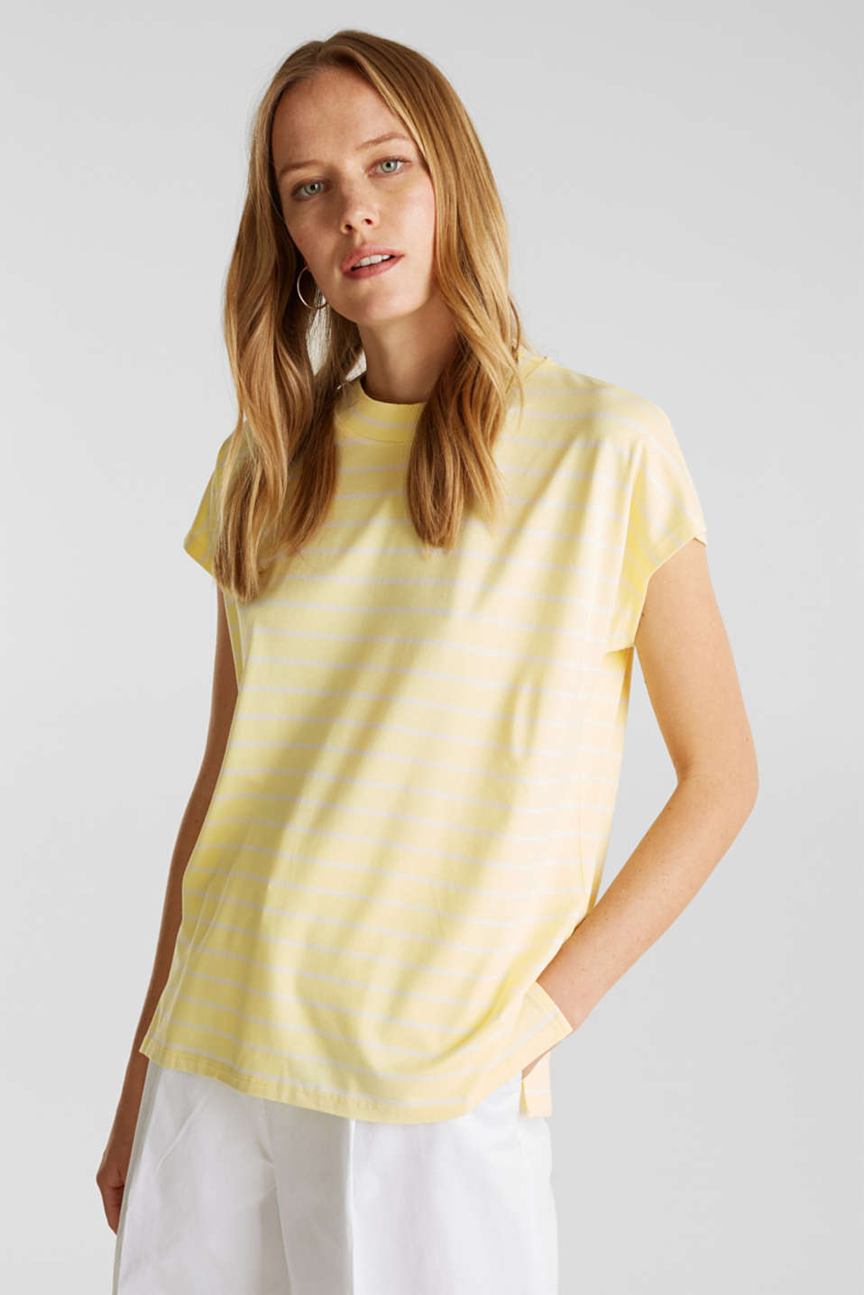 Stretch top with stripes, LIME YELLOW, detail image number 0