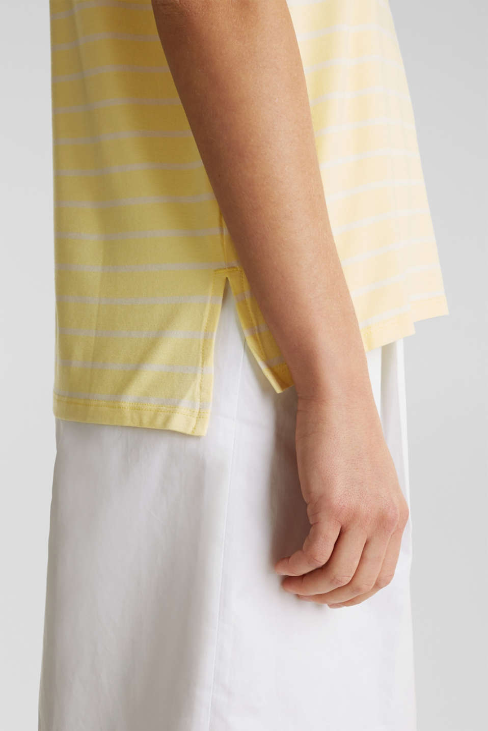 Stretch top with stripes, LIME YELLOW, detail image number 4