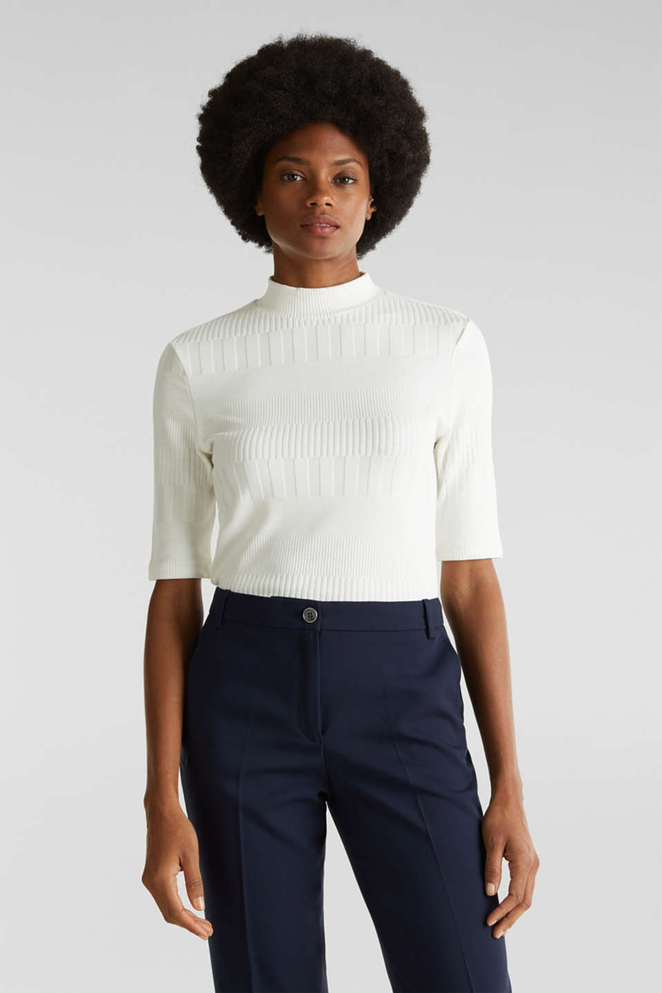 Esprit - Stretch top with band collar and texture