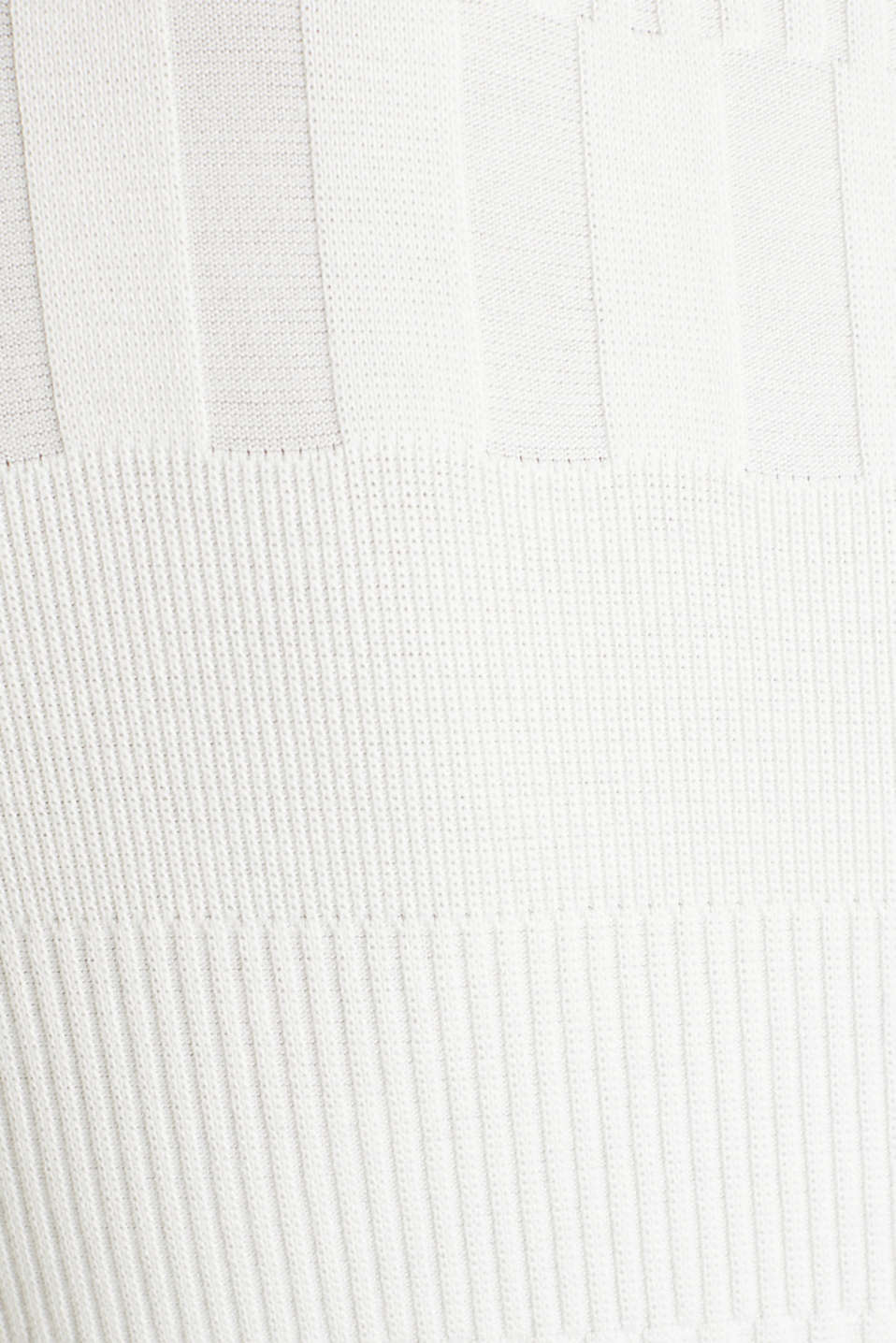 Stretch top with band collar and texture, OFF WHITE, detail image number 3