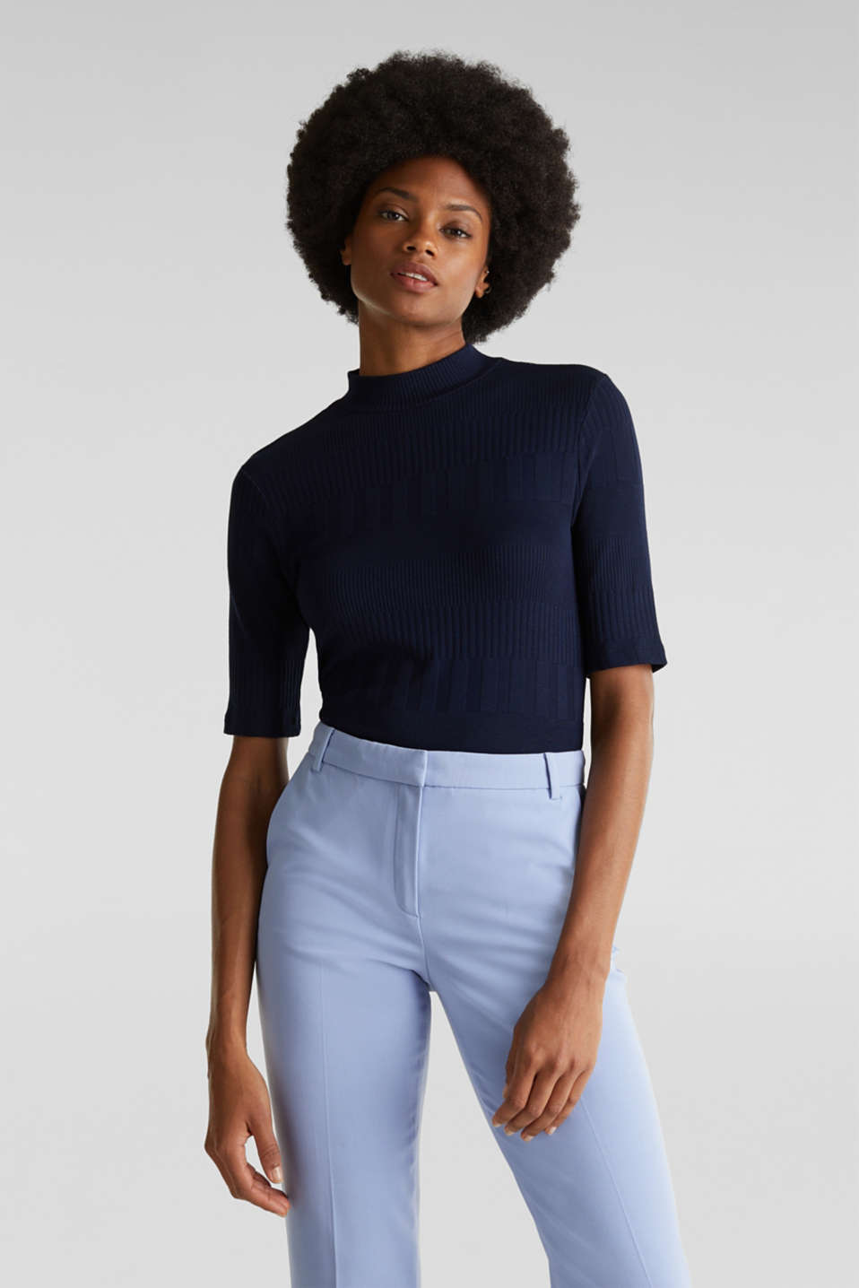 Textured top with a band collar, NAVY, detail image number 0