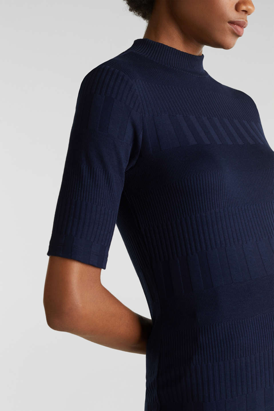 Textured top with a band collar, NAVY, detail image number 2