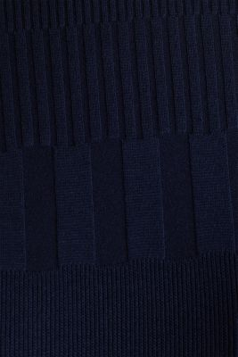 Textured top with a band collar, NAVY, detail