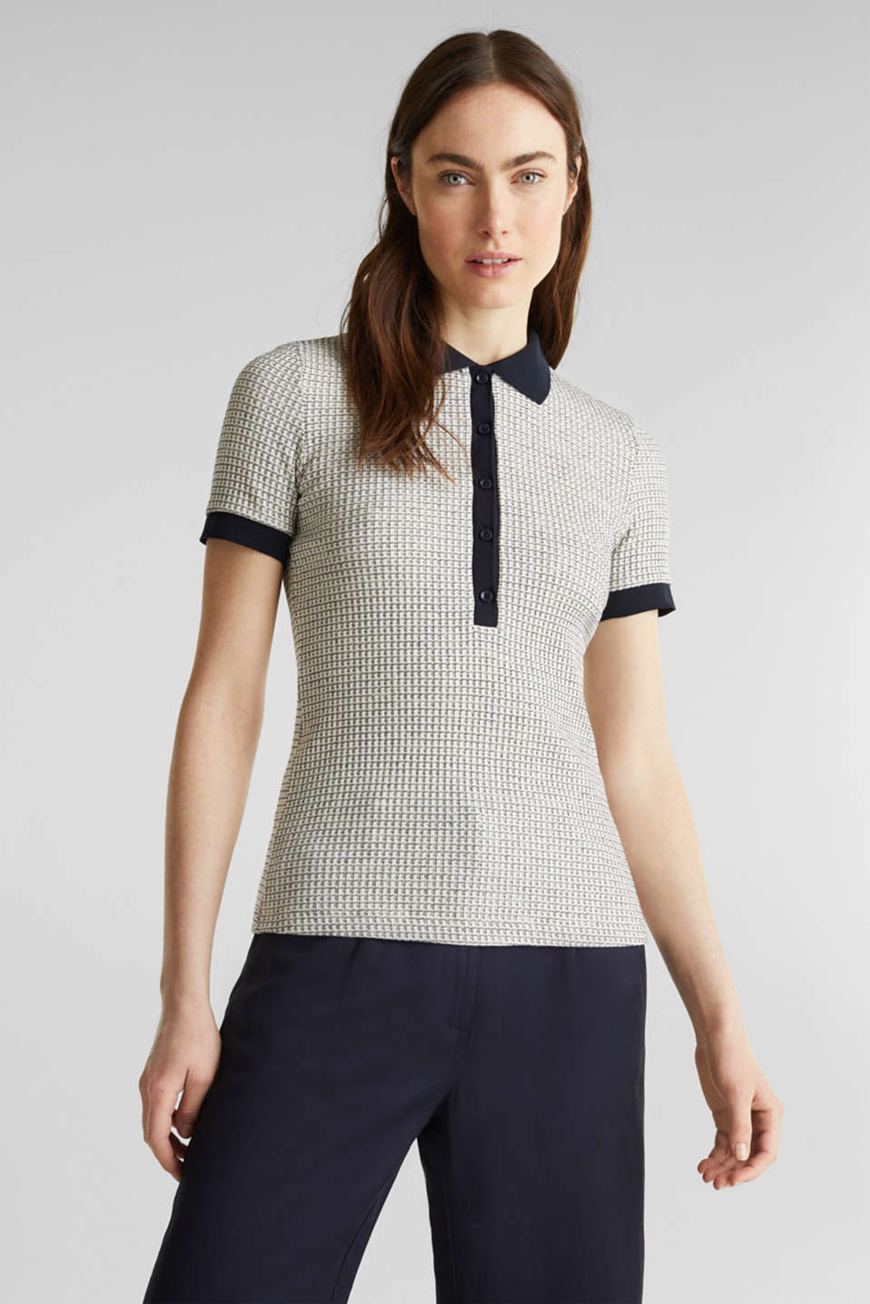 Esprit - Polo shirt with texture and stretch