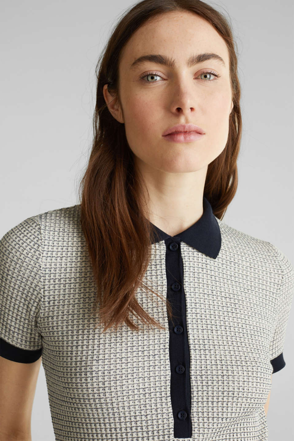 Polo shirt with texture and stretch, NAVY, detail image number 5