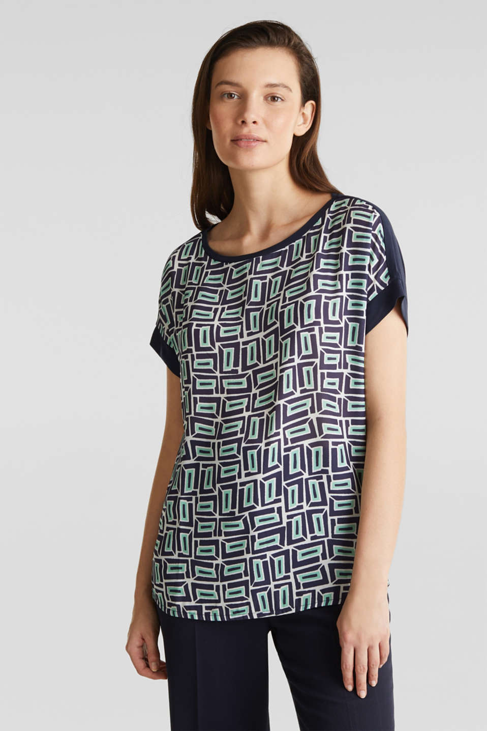 Printed blouse top in a mix of materials, NAVY, detail image number 0