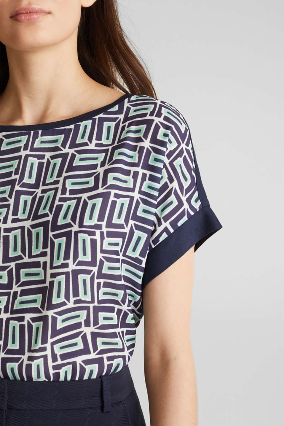 Printed blouse top in a mix of materials, NAVY, detail image number 2
