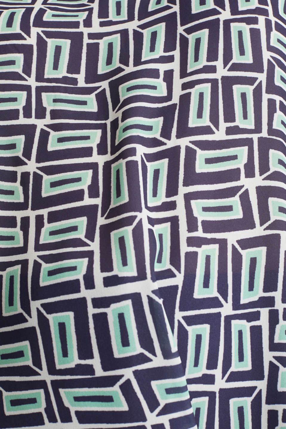 Printed blouse top in a mix of materials, NAVY, detail image number 4