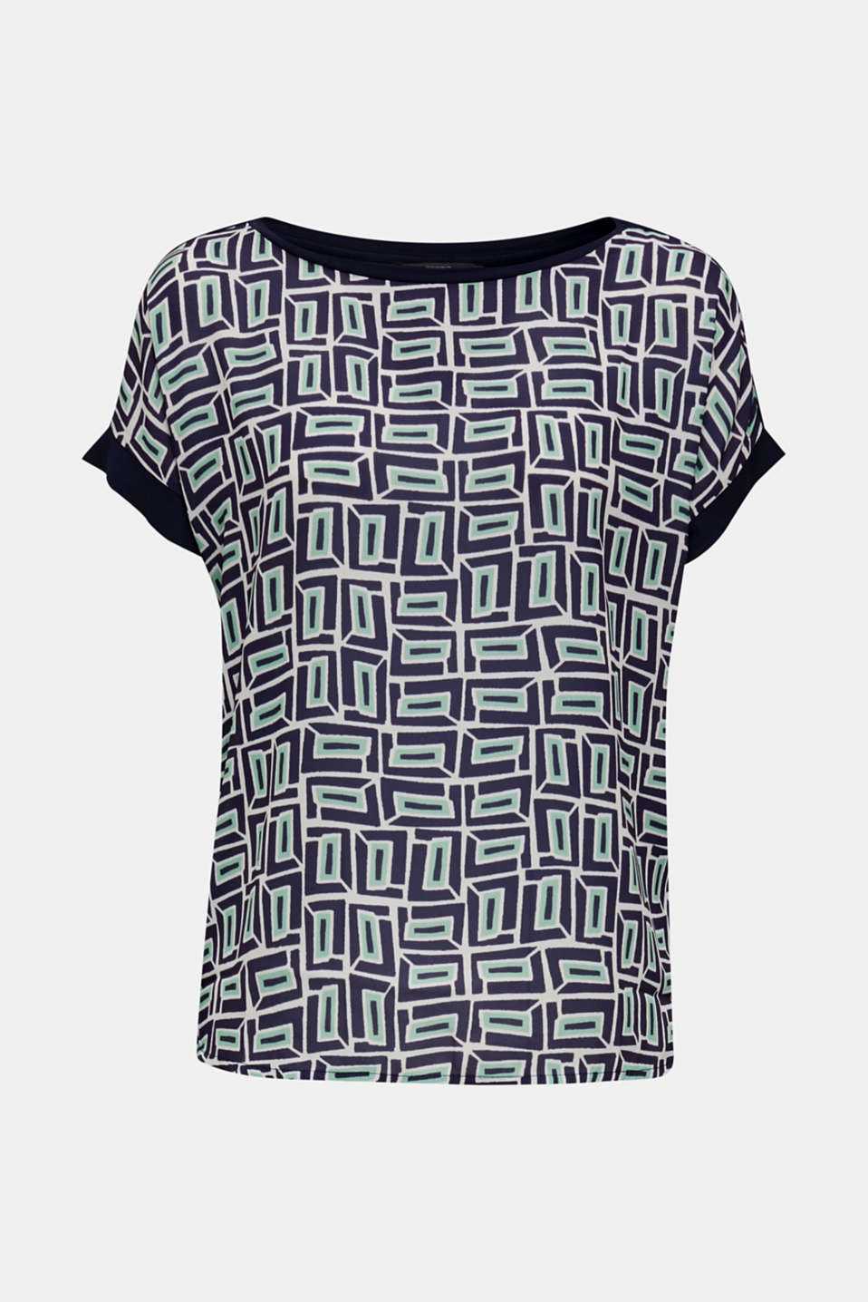 Printed blouse top in a mix of materials, NAVY, detail image number 6