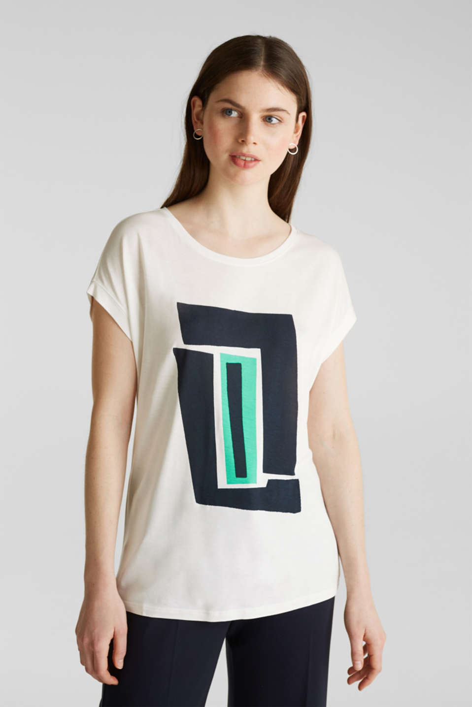 T-shirt with a geometric print, OFF WHITE, detail image number 0