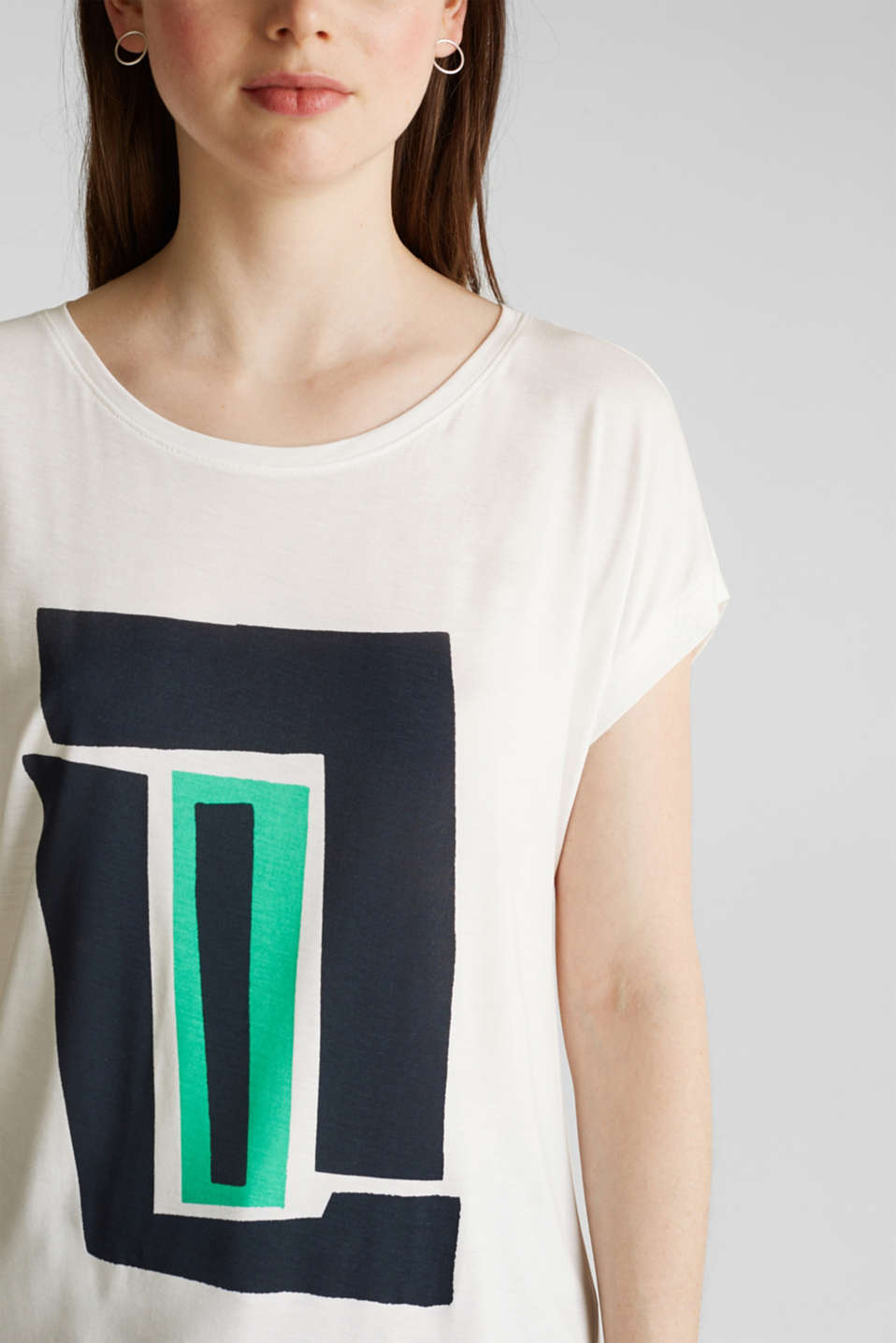 T-shirt with a geometric print, OFF WHITE, detail image number 2