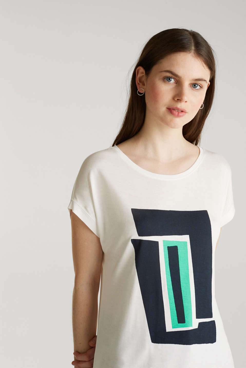 T-shirt with a geometric print, OFF WHITE, detail image number 5