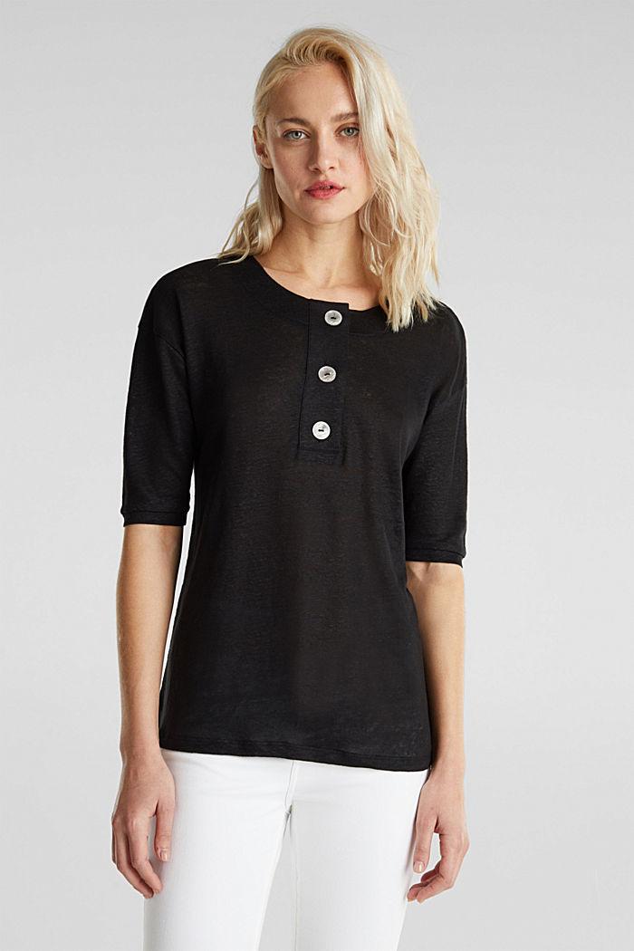 100% Leinen: Shirt mit Knöpfen, BLACK, detail image number 0