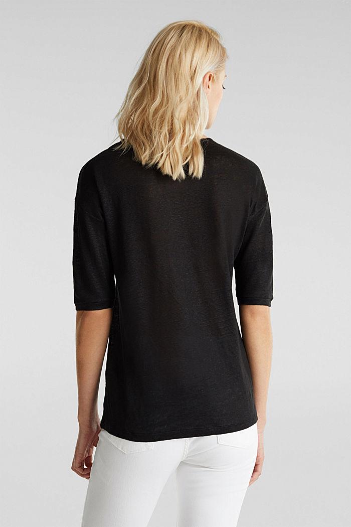100% Leinen: Shirt mit Knöpfen, BLACK, detail image number 3