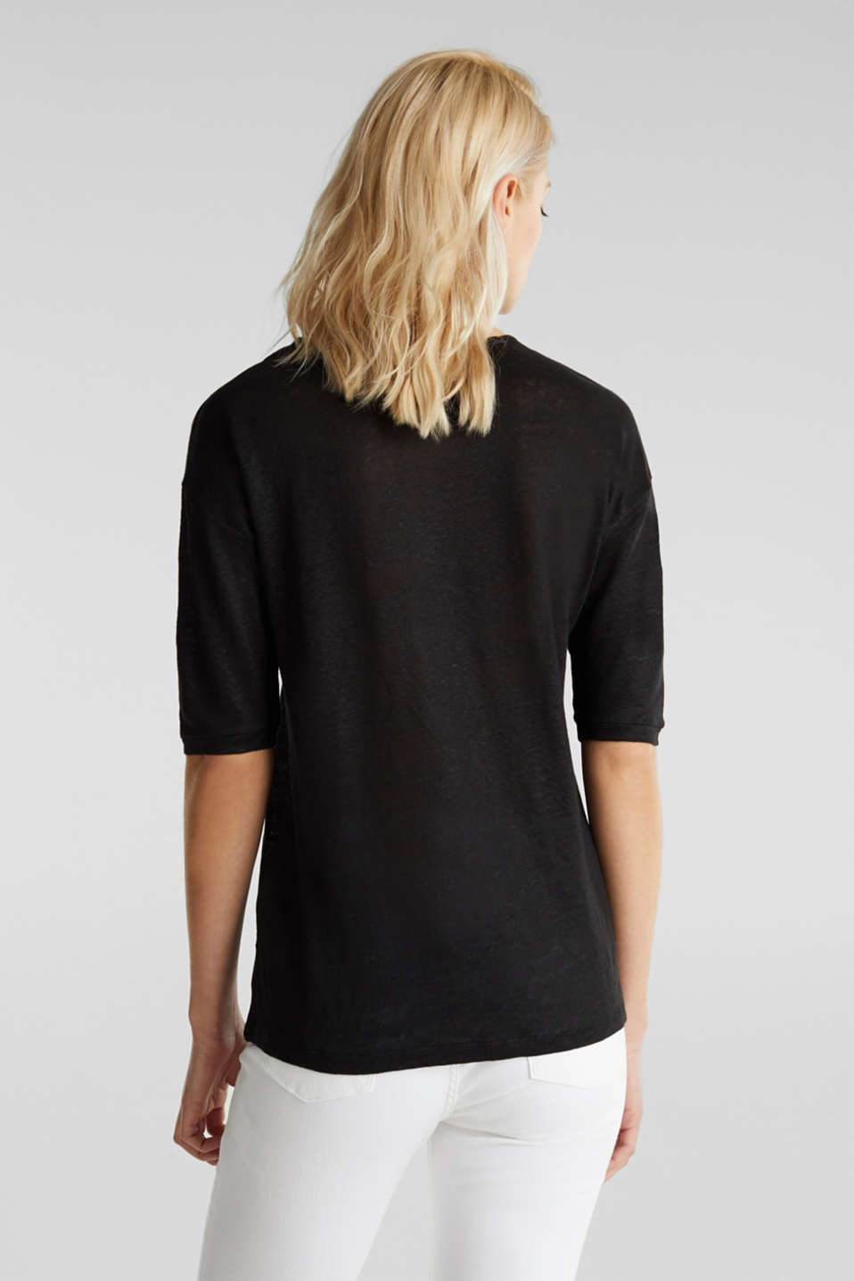 Made of 100% linen: Top with a button placket, BLACK, detail image number 3