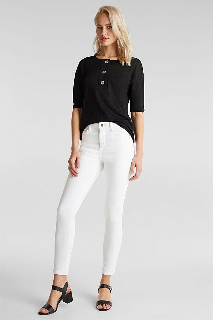 100% Leinen: Shirt mit Knöpfen, BLACK, detail image number 1