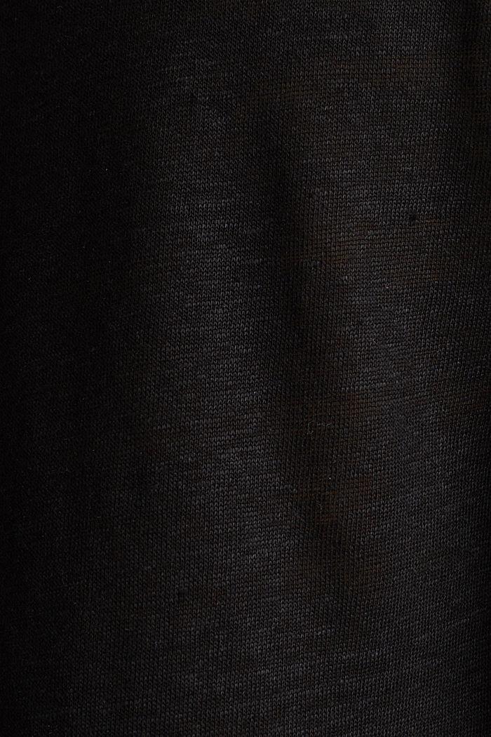 100% Leinen: Shirt mit Knöpfen, BLACK, detail image number 4