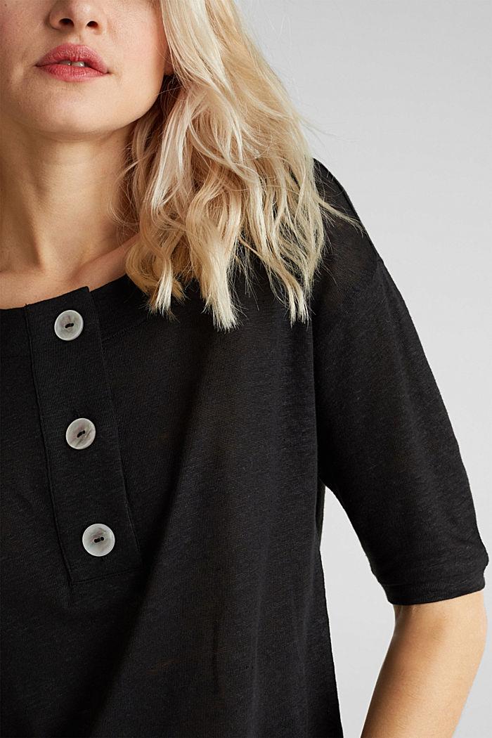 100% Leinen: Shirt mit Knöpfen, BLACK, detail image number 5