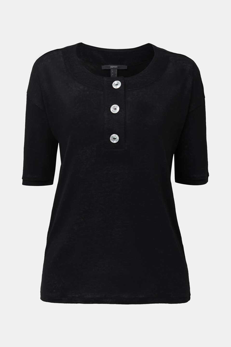 Made of 100% linen: Top with a button placket, BLACK, detail image number 6
