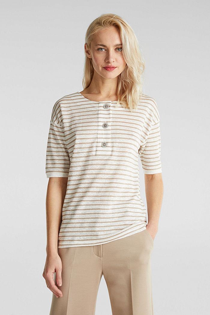 100% linnen: shirt met knopen